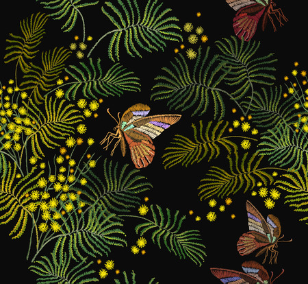 Embroidery mimosa flowers and butterflies seamless pattern. Fashion template for clothes, textiles, t-shirt design. Classical embroidery vintage yellow mimosa brunch and tropical butterflies