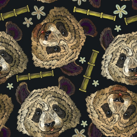 Embroidery panda head, bamboo forest and flowers seamless pattern. Classical embroidery portrait of funny panda bear pattern. Fashion template for clothes, textiles, t-shirt design Illustration