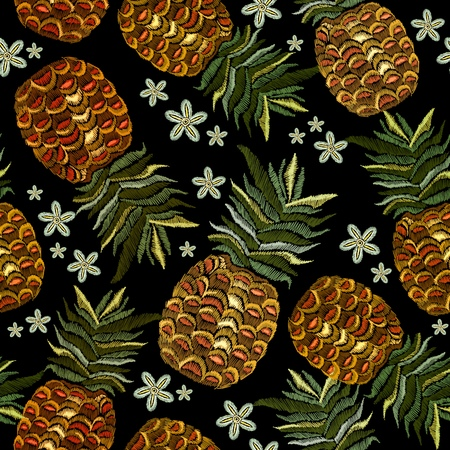 Embroidery pineapple and flowers seamless pattern. Classic embroidery tropical pineapple and summer flowers pattern. Summer template for clothes, textiles, t-shirt design