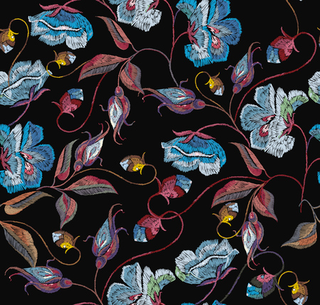 Embroidery blue flowers seamless pattern. Beautiful blue roses classical embroidery seamless pattern. Template for clothes, textiles, t-shirt design