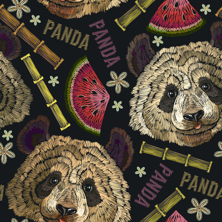 Embroidery panda head, bamboo forest and flowers seamless pattern. Fashion template for clothes, textiles, t-shirt design. Classical embroidery portrait of funny panda bear pattern