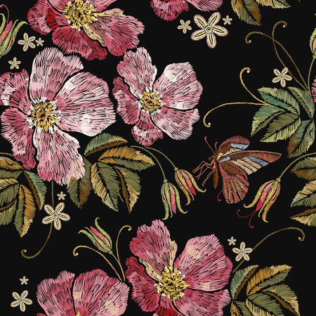 Embroidery rose and butterfly seamless pattern. Template for clothes, textiles, t-shirt design Illustration