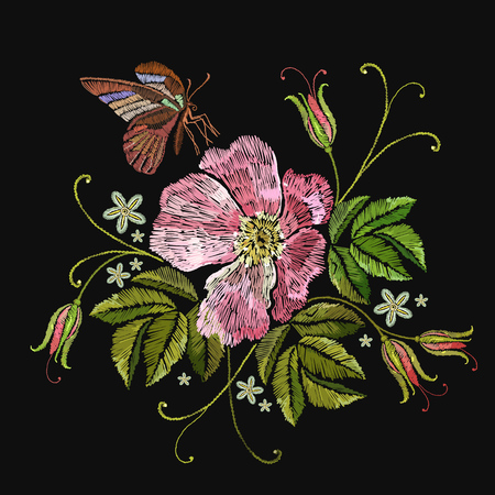 Embroidery rose and butterfly. Template for clothes, textiles, t-shirt design