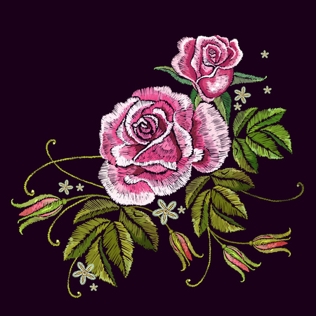 Embroidery spring roses. Template for clothes, textiles, t-shirt design. Beautiful buds of red roses classical embroidery on black background Ilustrace