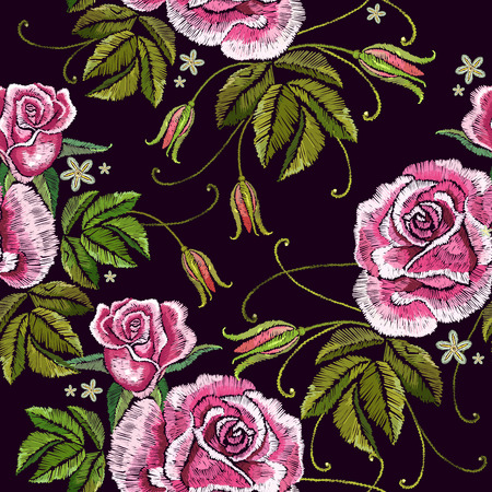 Embroidery roses seamless pattern. Template for clothes, textiles, t-shirt design. Beautiful buds of red roses classical embroidery on black background