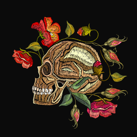 Embroidery skull and flowers. Gothic romantic embroidery human skulls red roses and peonies. Fashion template for clothes, textiles, t-shirt design.