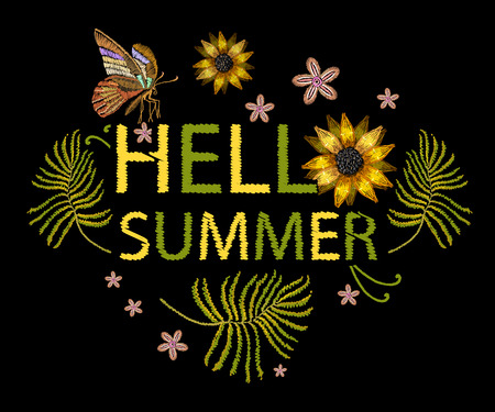 Embroidery flowers t-shirt design. Hello summer slogan. Template for clothes, textiles, t-shirt design. Illustration