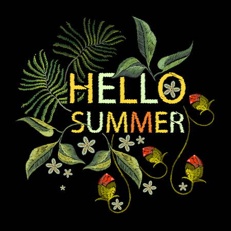 Embroidery flowers t-shirt design. Template for clothes, textiles, t-shirt design. Hello summer slogan.