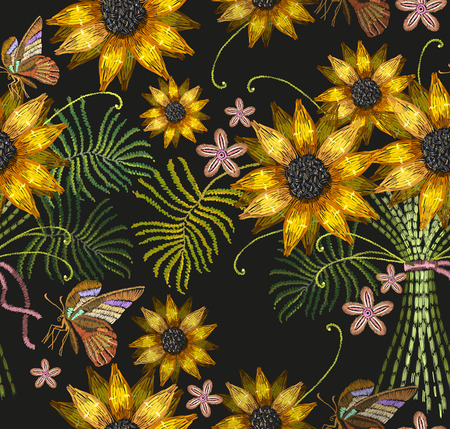 Embroidery sunflowers and butterflies seamless pattern. Classical embroidery bouquet of sunflowers and tropical butterflies pattern.  Template for clothes, textiles, t-shirt design