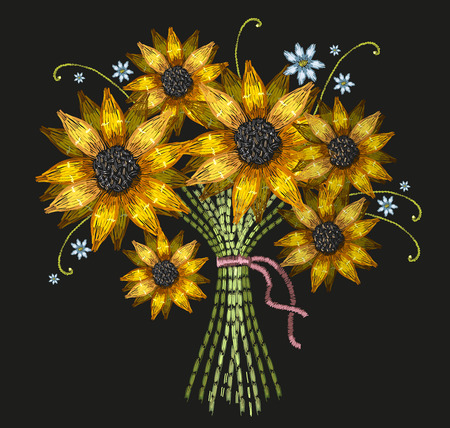 Embroidery bouquet of sunflowers vector. Template for clothes, textiles, t-shirt design. Classical embroidery fashion sunflowers. Illustration