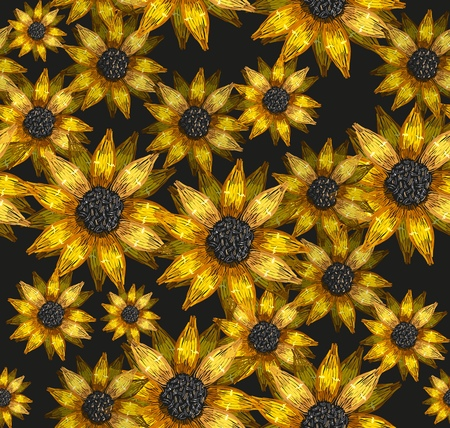 Embroidery sunflowers flowers seamless pattern. Classical embroidery bouquet of sunflowers fashion art pattern. Template for clothes, textiles, t-shirt design. Ilustrace