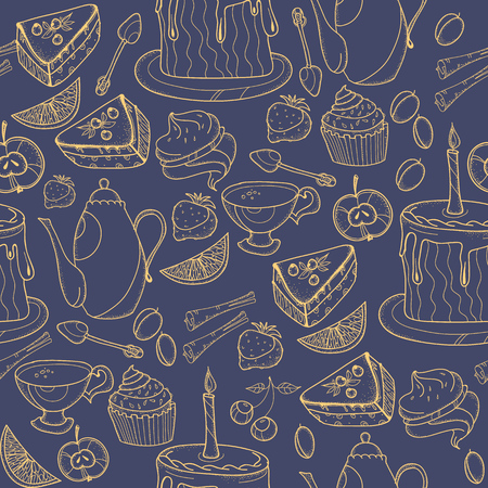 Seamless tea background with cakes, teapots, cups, candies. Time for tea hand drawn sketch. Illustration