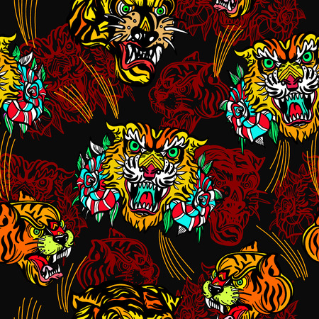 Tigers seamless pattern, old school tattoo vector. Classic flash tattoo style, patches and stickers. Fashionable tigers heads and flowers roses pattern. Illustration