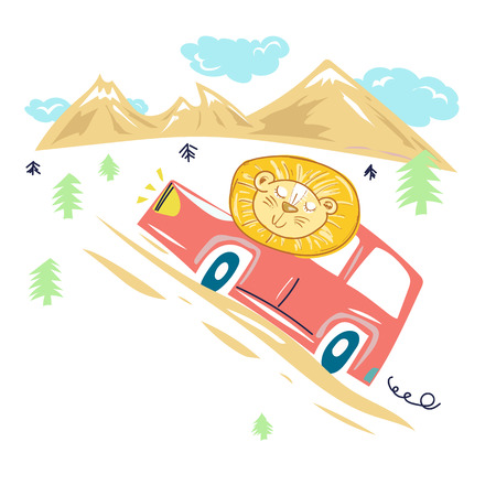 Happy young lion drives car to mountains. Lion goes to a travel. Childrens illustration