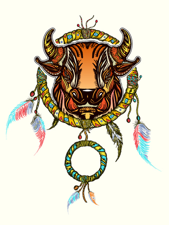 Indian dream catcher with ethnic ornaments and ethnic bull head. Boho native american style t-shirt design. Tribal bull and dream-catcher vector illustration.