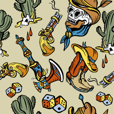 Cowboy, cactus, guns, wild west background. Wild west seamless pattern, old school tattoo vector. Classic flash tattoo style, patches and stickers. Fashionable western set.