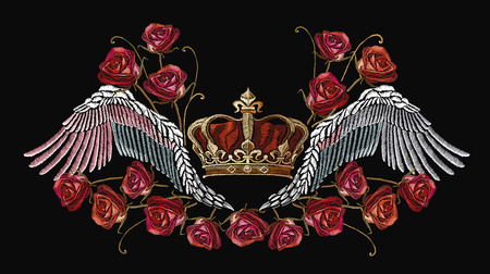 Embroidery crown, wings and roses. Template for clothes, textiles, t-shirt design. Classical embroidery wings and golden crown and spring roses. Symbol of romanticism and crime