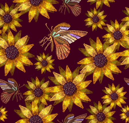 Embroidery sunflowers and butterflies seamless pattern. Template for clothes, textiles, t-shirt design. Classical embroidery bouquet of sunflowers and tropical butterflies pattern Illustration