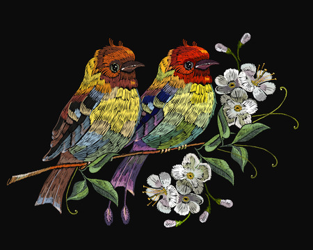 Embroidery two birds on the blossoming cherry. Template for clothes, textiles, t-shirt design Illustration
