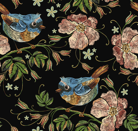 Beautiful birds and flowers of dogrose pattern. Template for clothes, textiles, t-shirt design. Embroidery wild roses and tropical birds seamless pattern