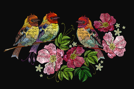 Embroidery birds and wild roses. Template for clothes, textiles, t-shirt design Standard-Bild - 110023897