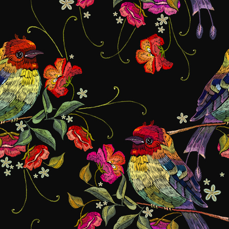 Seamless floral pattern. Embroidery birds and wild roses. Template for clothes, textiles, t-shirt design Illustration