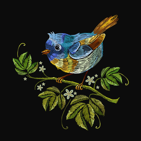 Embroidery little bird on branch. Template for clothes, textiles, t-shirt design Illustration