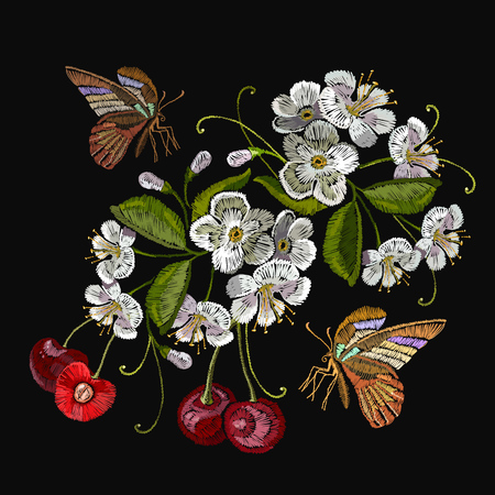 Template for clothes, textiles, t-shirt design. Embroidery cherry blossom tree and cherry fruit berry and butterfly Illustration