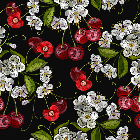 Embroidery cherry blossom tree and cherry fruit berry seamless pattern. Template for clothes, textiles