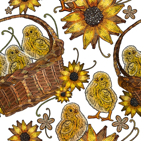Classical embroidery beautiful yellow chickens. Template for clothes, textiles, t-shirt design. Embroidery chickens and sunflowers in a basket seamless pattern