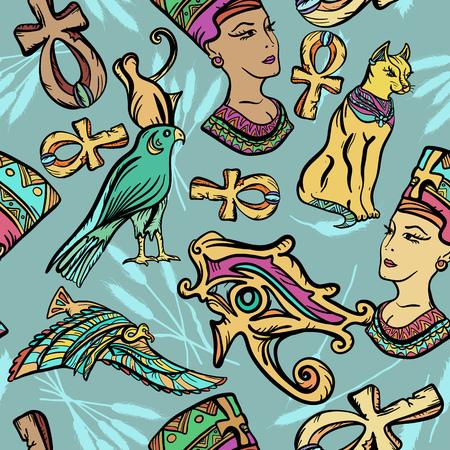 Patrón de arte del antiguo Egipto. Tatuaje flash clásico, parches y pegatinas. Patrón sin fisuras del antiguo Egipto, tatuaje de la vieja escuela. Ankh, ojo Ra, Nefertiti, gato Ilustración de vector