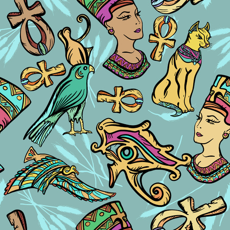 Ancient Egypt art pattern. Classic flash tattoo, patches and stickers. Ancient Egypt seamless pattern, old school tattoo. Ankh, eye Ra, Nefertiti, cat Illustration