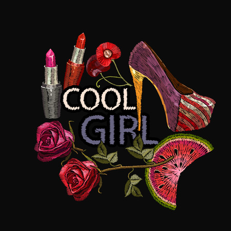 Embroidery, slogan cool girl. Women's shoes, fashionable background, art style. Fashion template for clothes, textiles, t-shirt design Standard-Bild - 108191261