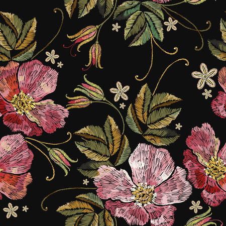 Template for clothes, textiles, t-shirt design. Embroidery wild roses seamless pattern. Beautiful flowers of dogrose pattern