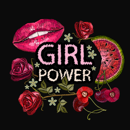 Embroidery, slogan girl power. Fashion template for clothes, textiles, t-shirt design. Female lips, roses, cherry, fashionable background, art style
