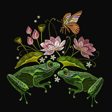 Embroidery frogs, butterfly and lotus flowers. Classical embroidery frogs, pink lotuses, water lily. Clothes template, t-shirt design
