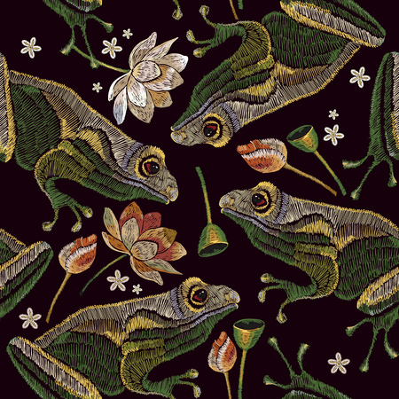 Embroidery vintage frogs and lotus flowers seamless pattern. Classical embroidery frogs, pink lotuses, water lily. Clothes template, t-shirt design