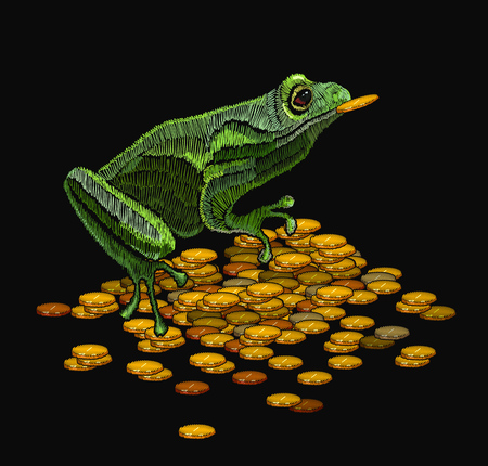 Frog embroidery and golden coins. Queen frog classical embroidery template for clothes, textiles, t-shirt design Illustration