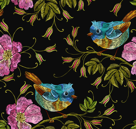 Embroidery wild roses and tropical birds seamless pattern. Beautiful birds and flowers of dogrose background. Template for clothes, textiles, t-shirt design Illustration