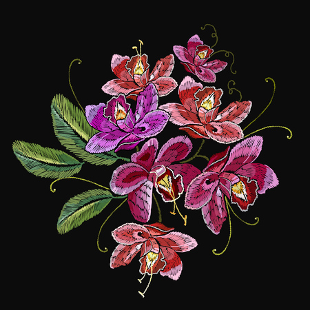 Embroidery orchid flowers. Template for clothes, textiles, t-shirt design. Beautiful pink orhid classical embroidery