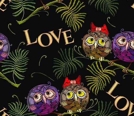 Embroidery two funny owls on branch romantic seamless pattern. Love slogan. Template for clothes, textiles, t-shirt design