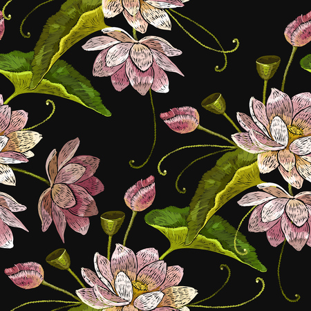 Embroidery water lotus flowers seamless pattern. Clothes template, t-shirt design. Classical embroidery pink lotuses pattern, water lily
