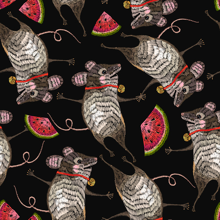 Embroidery mouse seamless pattern. Template for clothes, textiles, t-shirt design fashion art pattern. Two cheerful mice are danced in flowers classical embroidery