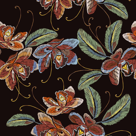 Embroidery orchid flowers seamless pattern. Beautiful pink orhid classical embroidery art pattern. Template for clothes, textiles, t-shirt design
