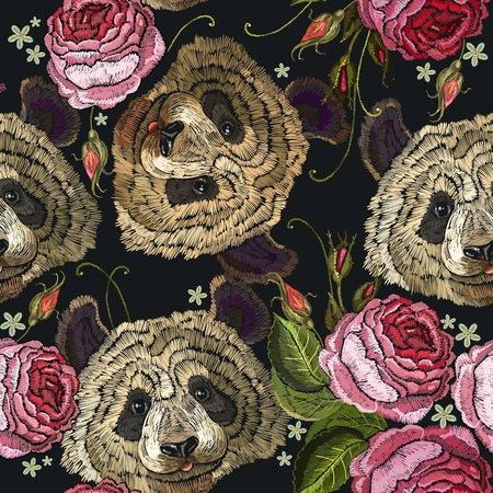 Embroidery panda and flowers seamless pattern. Fashion template for clothes, textiles, t-shirt design. Classical embroidery pattern portrait of funny panda bear and roses flowers Illustration