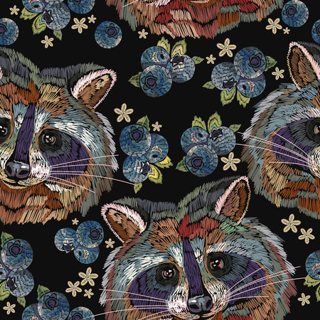 Raccoons and bilberry berries embroidery seamless pattern. Classical embroidery portrait of funny raccoon pattern. Fashion template for clothes, textiles, t-shirt design