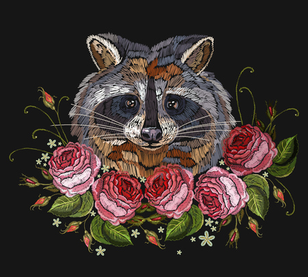 Raccoon head and roses embroidery art. Fashion template for clothes, textiles, t-shirt design. Classical embroidery portrait of funny raccoon and pink flowers roses Illustration