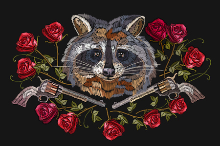 Embroidery raccoon, crossed guns and roses. Fashion modern embroidery raccoon head red roses and old guns, crime print for clothes, textiles, t-shirt design