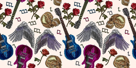 Embroidery rock music seamless pattern. Cool rock pattern for clothes. Embroidery gothic rock music fashion art. Guitar, gothic roses, angel wings, human skull, music notes