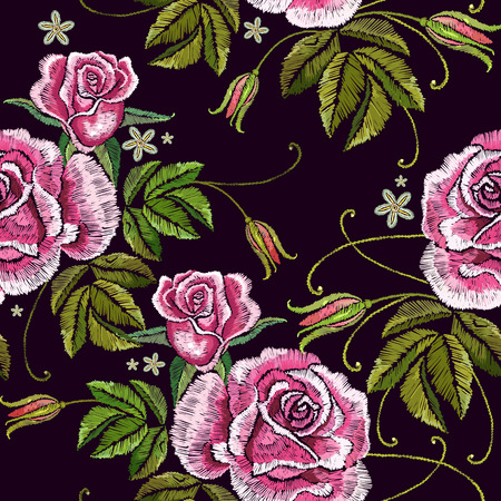 Embroidery spring roses seamless pattern. Beautiful buds of pink roses classical embroidery on black background. Template for clothes, textiles, t-shirt design